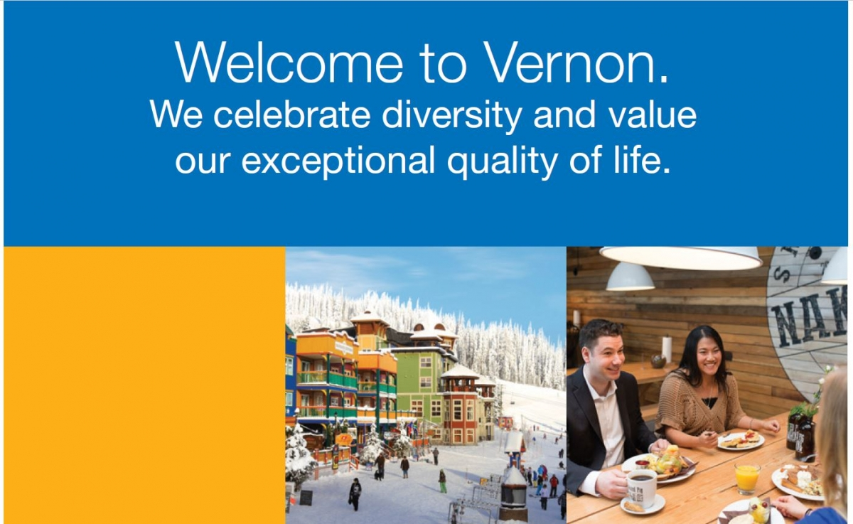 Graphic pictures and Welcome to Vernon text