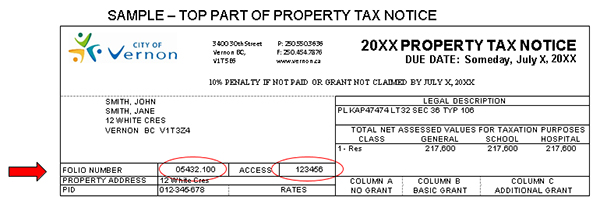 how to find property tax roll number